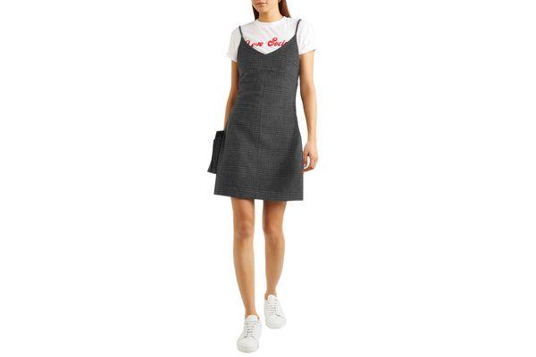 Ganni Woodside Checked Wool-Blend Mini Dress