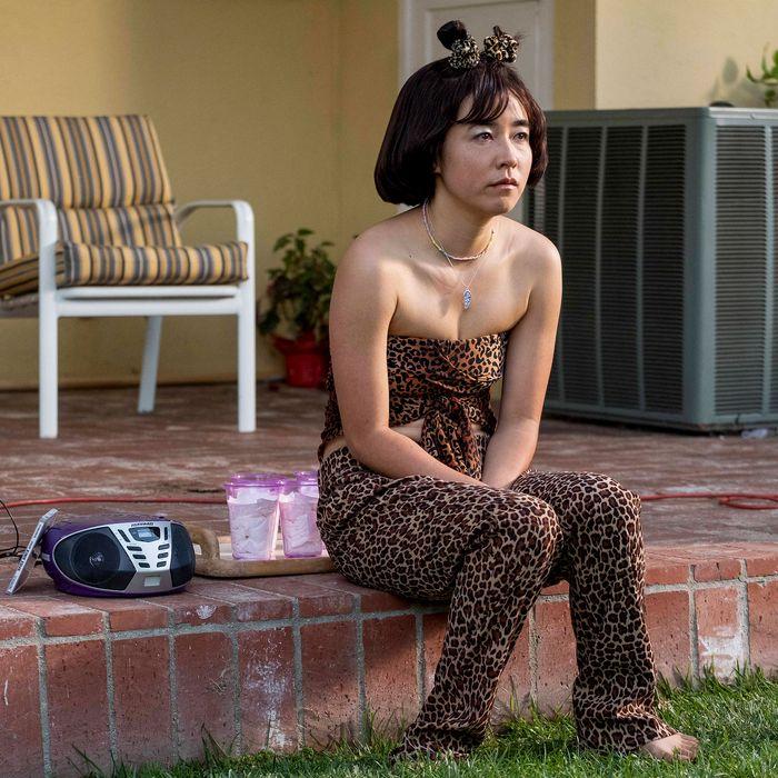 "Maya (Maya Erskine) as Scary Spice in the ""Posh"" episode of <em>PEN15</em>."