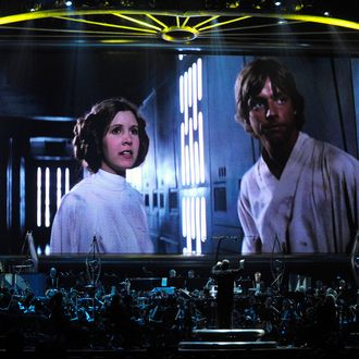 LAS VEGAS - MAY 29: Actress Carrie Fisher's Princess Leia Organa character and actor Mark Hamill's Luke Skywalker character from
