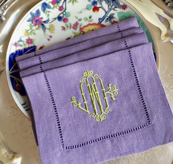 Monogrammed Linen Hemstitched Cocktail Napkins