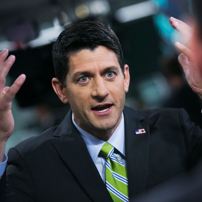 U.S. Representative Paul Ryan, a Wisconsin Republican, speaks after a Bloomberg Television interview in New York, U.S., on Wednesday, Aug. 20, 2014. Ryan said he'd support more aggressive bombings in the Middle East to fight Islamic State militants after the beheading of a U.S. journalist.