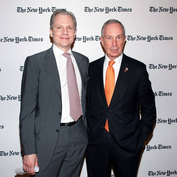 The New York Times publisher Arthur O. Sulzberger, Jr. (L) and New York City mayor Michael R. Bloomberg attend the 2013 Energy For Tomorrow Conference at The Times Center on April 25, 2013 in New York City.