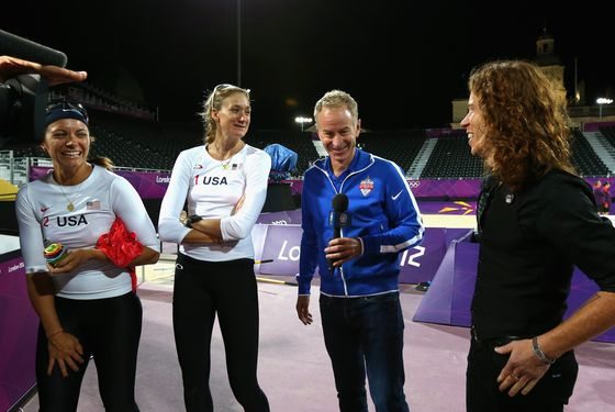 LONDON, ENGLAND - JULY 30:  Kerri Walsh Jennings and Misty May-Treanor of the United States are interviewd by John McEnroe and Shaun White after the Women's Beach Volleyball Preliminary match between United States and Czech Republic on Day 3 of the London 2012 Olympic Games at Horse Guards Parade on July 30, 2012 in London, England.  (Photo by Ryan Pierse/Getty Images)