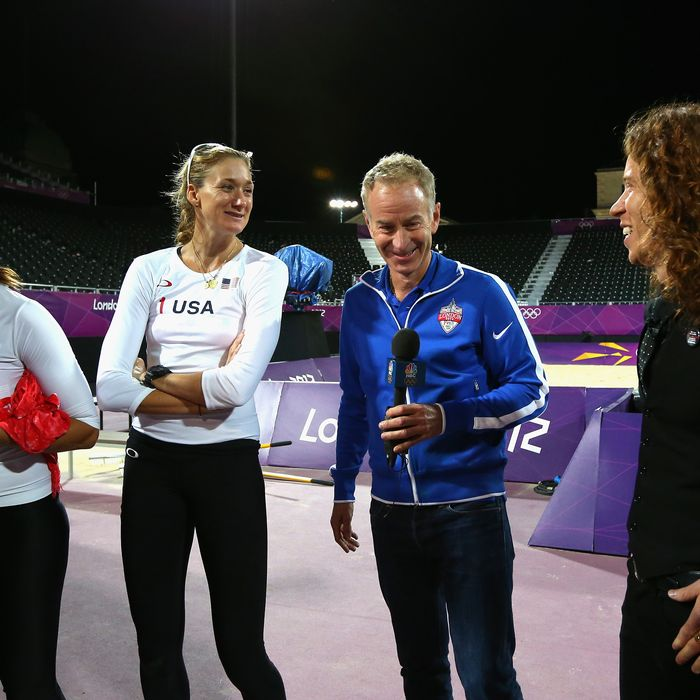 Kerri Walsh Jennings and Misty May-Treanor of the United States are interviewd by John McEnroe and Shaun White after the Women's Beach Volleyball Preliminary match between United States and Czech Republic on Day 3 of the London 2012 Olympic Games