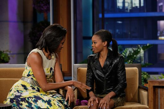 THE TONIGHT SHOW WITH JAY LENO -- Episode 4297 -- Pictured: (l-r) First Lady Michelle Obama, Olympic Gymnast Gabrielle 'Gabby' Douglas during an interview on August 13, 2012
