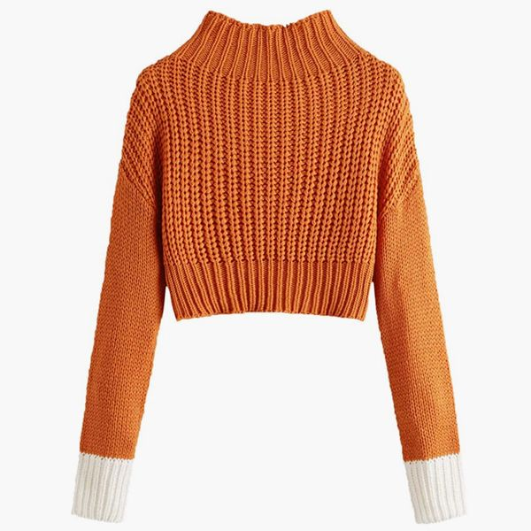 SweatyRocks Drop Shoulder Mock Neck Sweater
