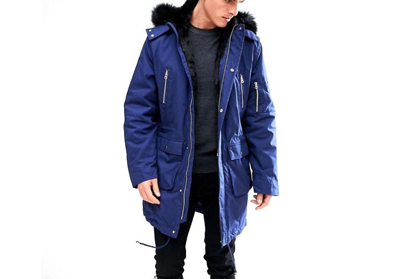Asos Heavyweight Parka With Faux Fur Lining In Blue