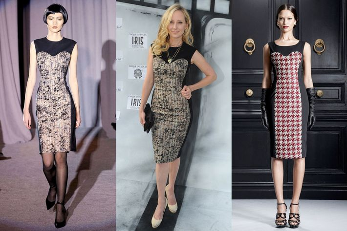 From left: Douglas Hannant's designs, on the runway and on Anne Heche; Jason Wu's design.