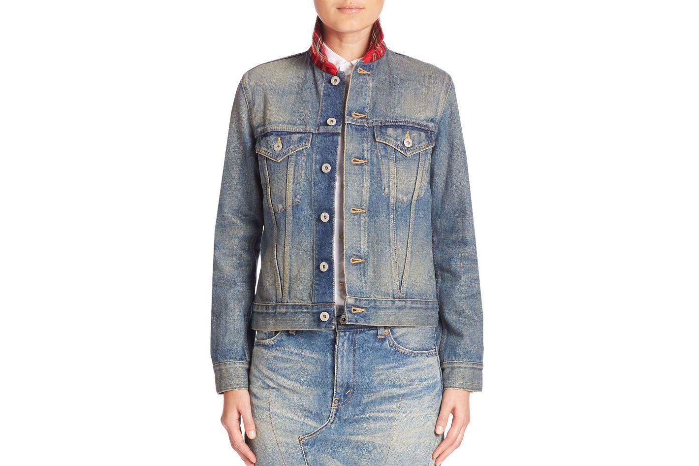 Junya Watanabe Plaid-Collar Denim Jacket