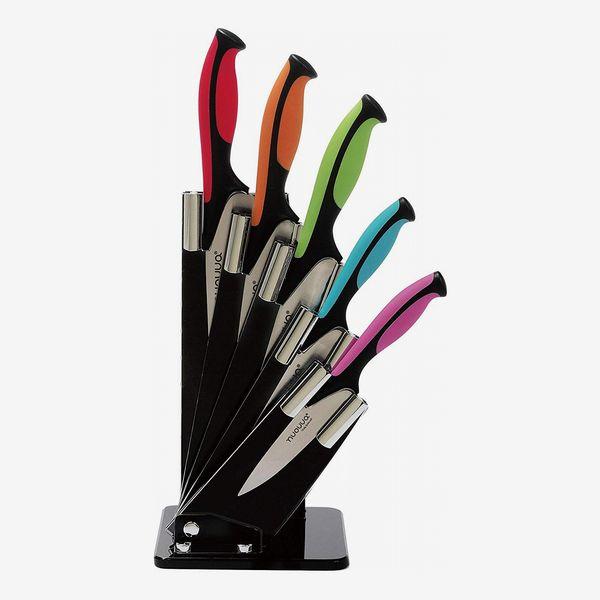 Nouva Kitchen Knife Block Set with Colour Coding, 6-Piece