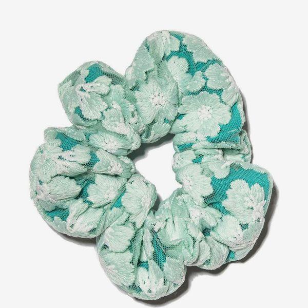 Lele Sadoughi Mint Embroidered Floral Lace Oversized Scrunchie