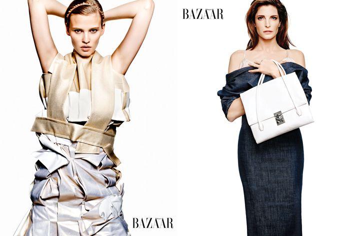 Lara Stone and Stephanie Seymour, styled by Carine Roitfeld for Harper's Bazaar.