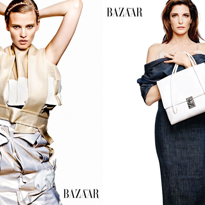 Lara Stone and Stephanie Seymour, styled by Carine Roitfeld for Harper's Bazaar.