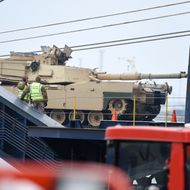 An Abrams tank being delivered to the Baltics.