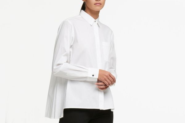 DKNY Stretch Poplin Pleat-Back Button Down