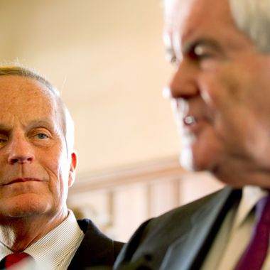 U.S. Rep. Todd Akin (R-MO) and former Speaker of the House Newt Gingrich (R) address the press on September 24, 2012 in Kirkwood, Missouri. Gingrich was in the St. Louis area to attend a fundraiser for Akin's U.S. Senate campaign against incumbent Claire McCaskill.