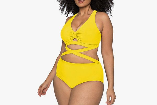 Kisscynest Plus Size Two Piece High Waisted Swimsuit