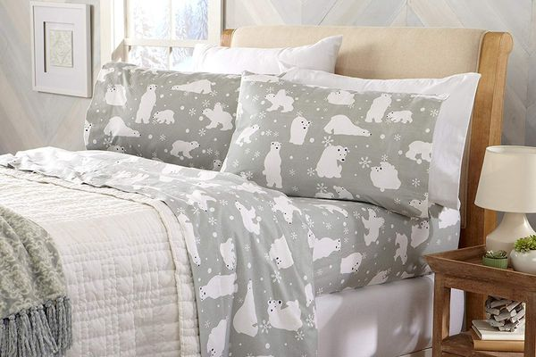 Home Fashion Designs Stratton Collection Printed Flannel Sheet Set, Queen, Grey Polar Bears
