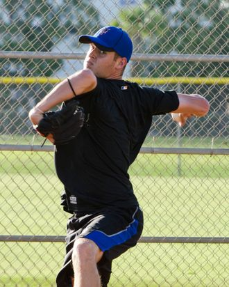 New York Mets pitching prospect Zack Wheeler works out at the Mets training facility in Port St Lucie, Florida, Friday,July 29, 2011.