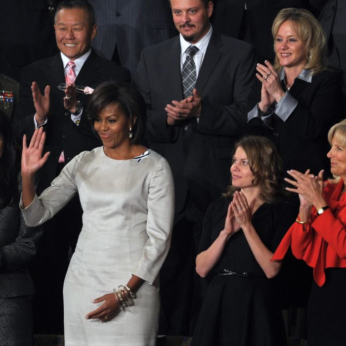 US First Lady Michelle Obama acknowledges applause prior to US President Barack Obama's State of the Union Address before a joint session of Congress and the Supreme Court on January 25, 2011 on Capitol Hill in Washington, DC.