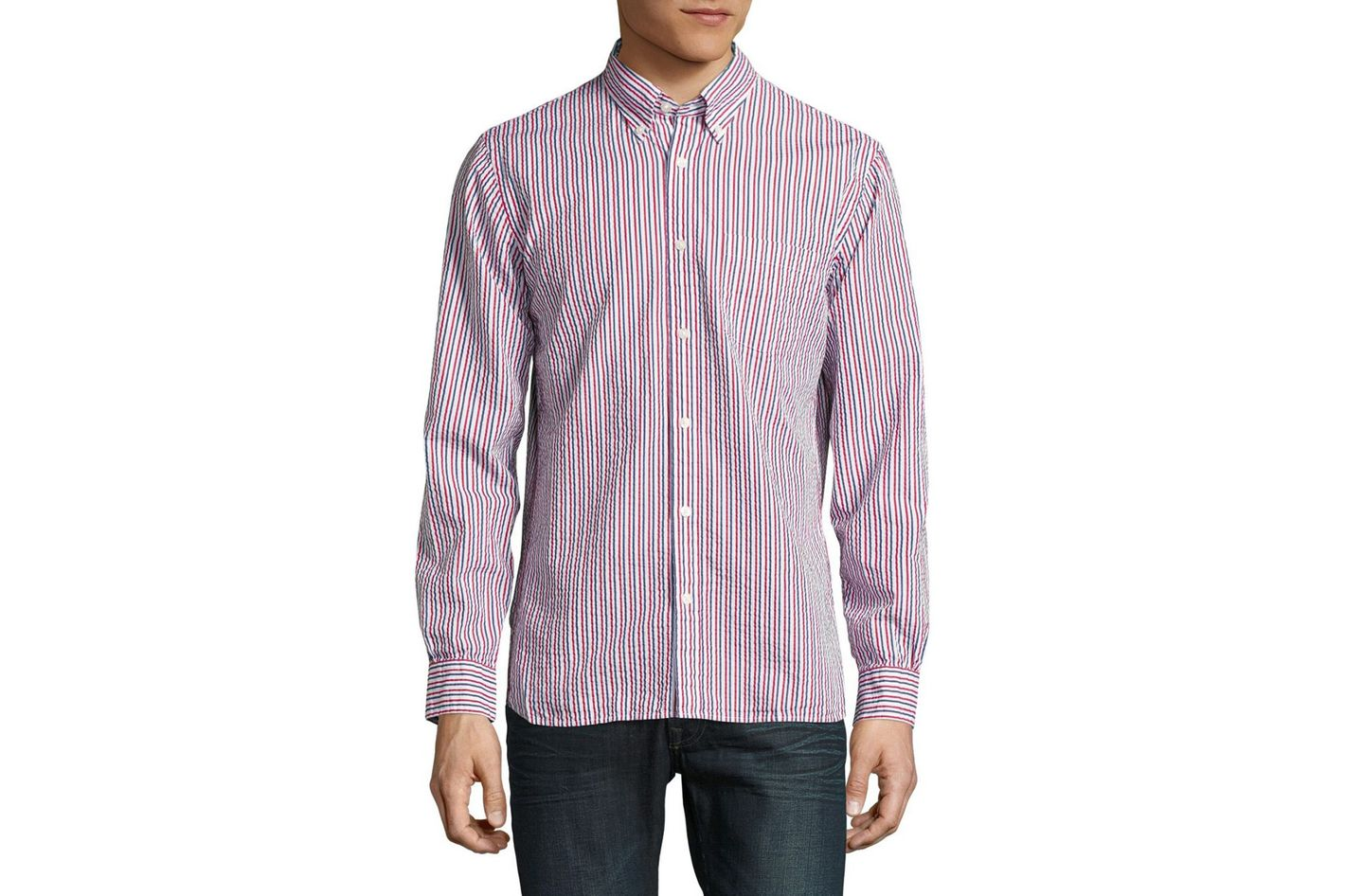 Brooks Brothers Red Fleece Striped Sportshirt