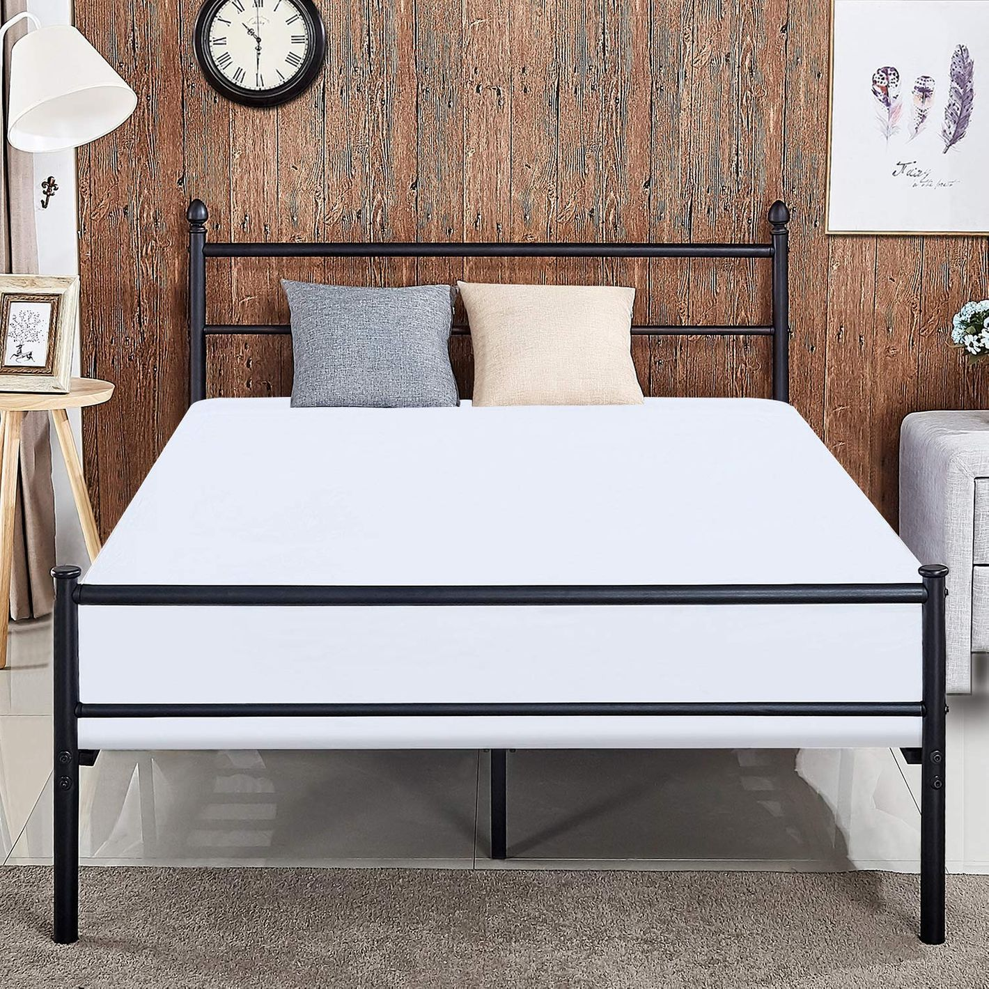 Vecelo Reinforced Metal Bed Frame — Queen
