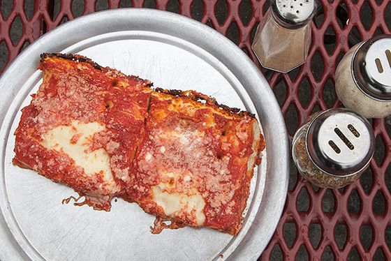 "<b>Sicilian</b>    <a href=""http://www.menupages.com/restaurants/l-b-spumoni-gardens/"">L&B Spumoni Gardens</a>    <i>Brooklyn</i>  This is probably the most famous Sicilian slice on Earth (Sicily included). Droves of tourists, TV crews, and NYC natives train it to Bensonhurst to take a swing at L&B's legendary crackly crust, layered with olive oil and a potent, sweet-and-tangy San Marzano sauce over a slight sprinkle of cheese."