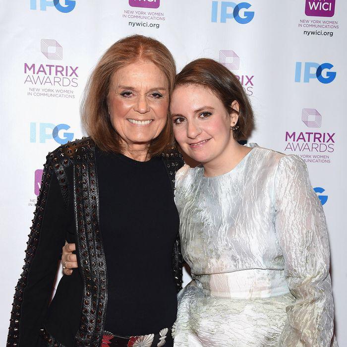 Lena Dunham with Gloria Steinem at the Matrix Awards.