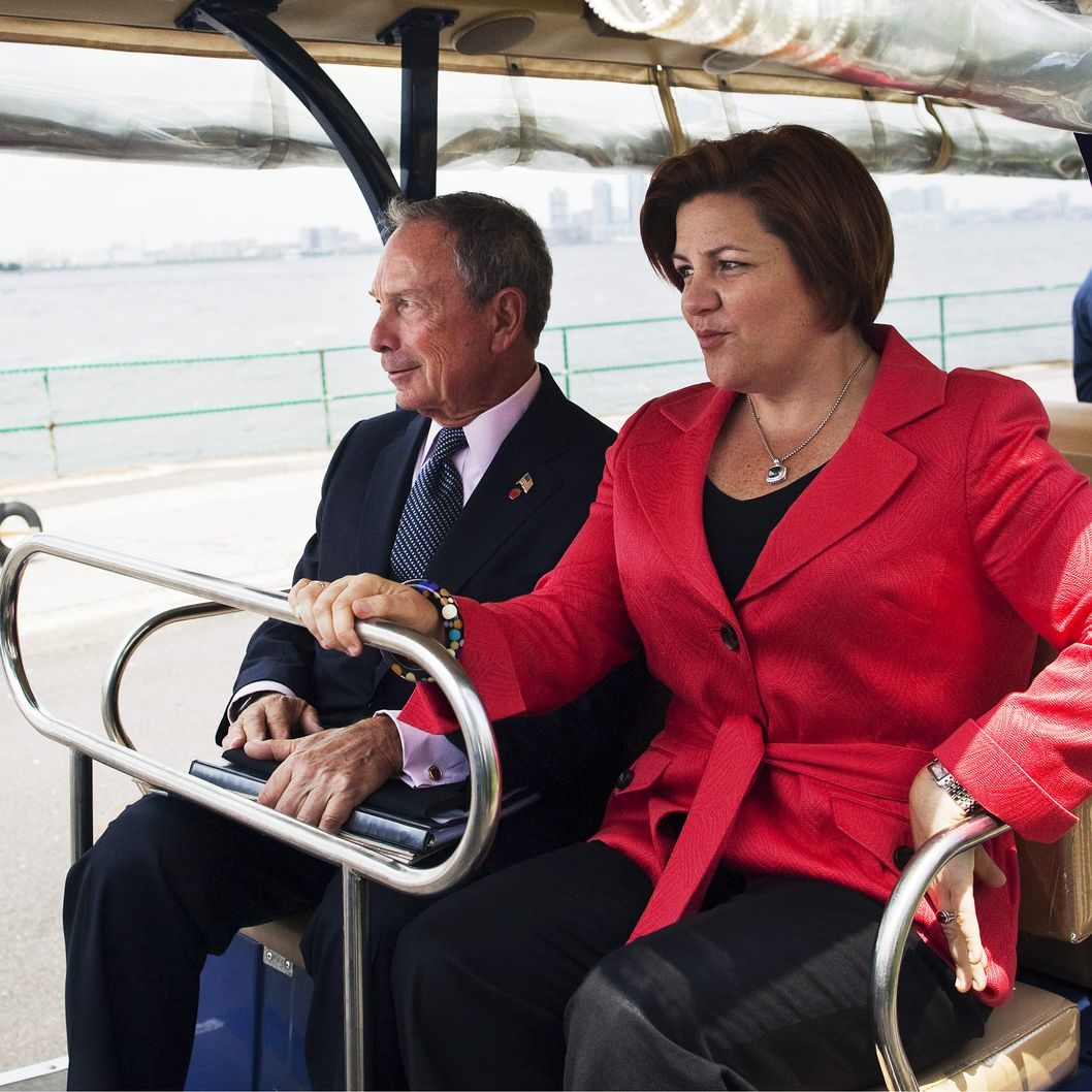 New York City Mayor Michael Bloomberg (L) and  Council Speaker Christine Quinn (R)