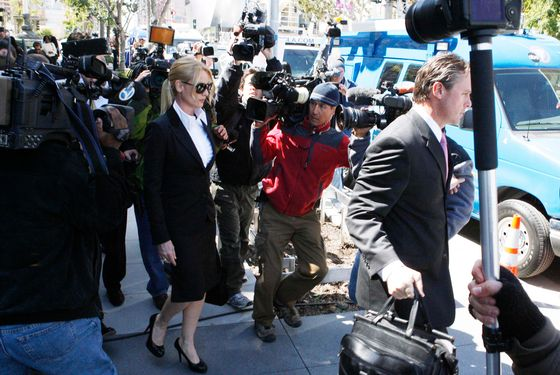 Nicollette Sheridan is quiet to the media as she leaves the courthouse after the case ends in a mistrial.  <P> Pictured: Nicollette Sheridan <P> <B>Ref: SPL372910  190312  </B><BR/> Picture by: Phamous / Splash News<BR/> </P><P> <B>Splash News and Pictures</B><BR/> Los Angeles:310-821-2666<BR/> New York:212-619-2666<BR/> London:870-934-2666<BR/> photodesk@splashnews.com<BR/> </P>