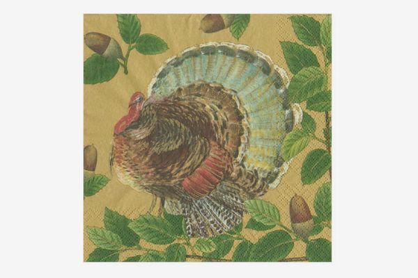 Caspari Turkey and Acorns Luncheon Napkins in Gold - Pack of 20