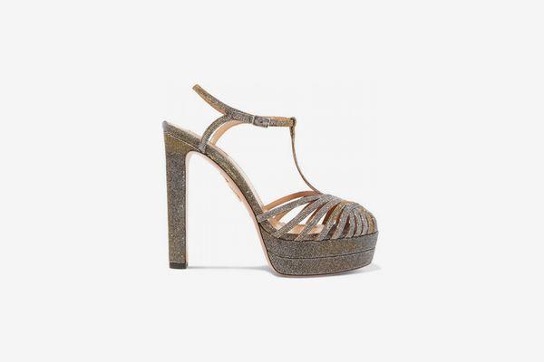 Aquazzura Moonlight Textured-Lamé Platform Sandals