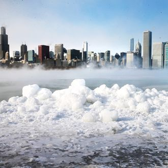 CHICAGO, IL - JANUARY 06: Ice builds up along Lake Michigan as temperatures dipped well below zero on January 6, 2014 in Chicago, Illinois. Chicago hit a record low of -16 degree Fahrenheit this morning as a polar air mass brought the coldest temperatures in about two decades into the city. (Photo by Scott Olson/Getty Images)