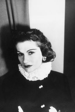 1937:  Portrait of French fashion designer Coco Chanel (1882 - 1971) wearing a ruff collar.  (Photo by George Hoyningen-Huene/RDA/Getty Images)