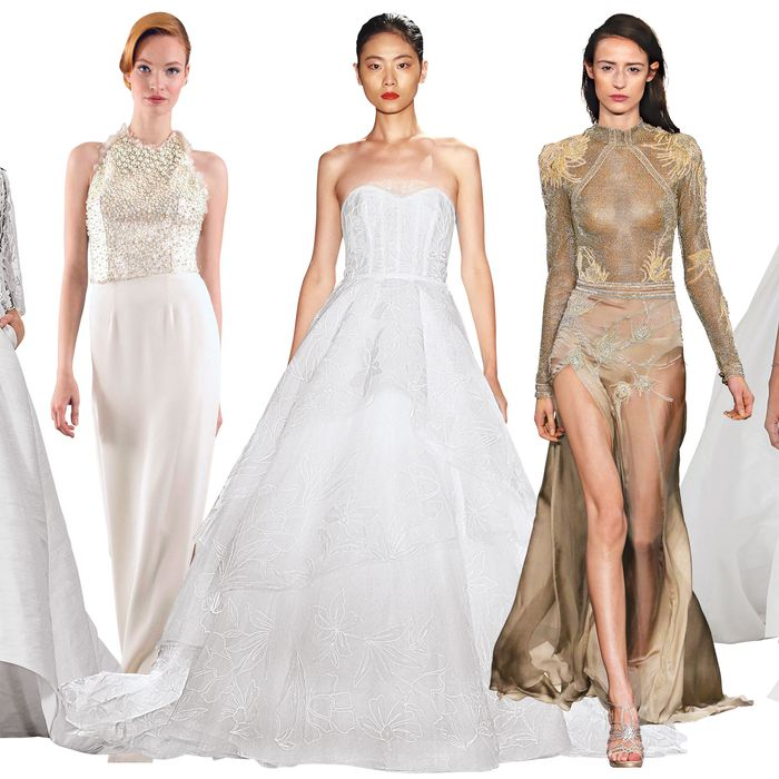 Wedding gowns featuring 3-D-printed florals, exposed corsets, mock necks, and more.