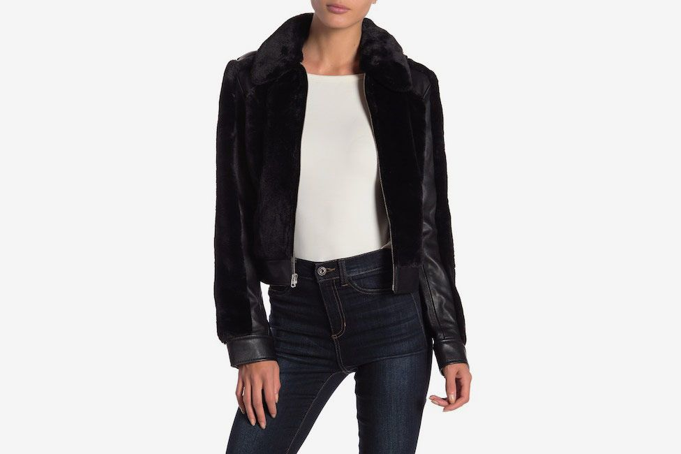 7 For All Mankind Faux Fur & Leather Jacket