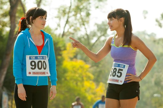"Jess (Zooey Deschanel, L) discovers Cece (Hannah Simone, R) has been keeping a secret from her and their friendship is put to the test in the ""Secrets"" episode of NEW GIRL"