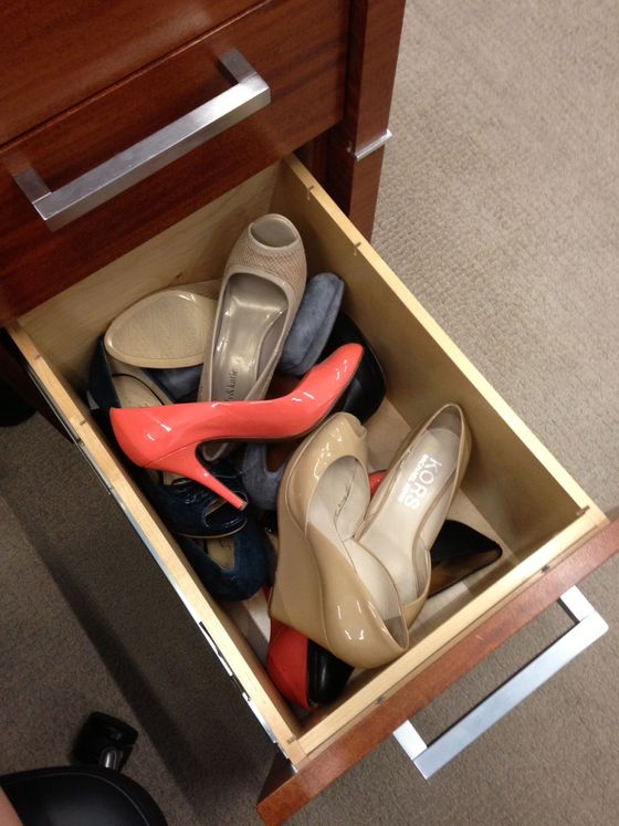 """It baffles me why women would wear heels during their commute. My goal is to get to the office as comfortably as possible and only then do I worry about looking cute. Hence, my office desk is also my shoe closet."""