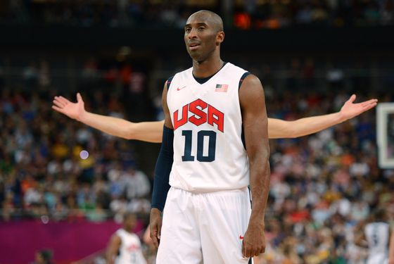 US guard Kobe Bryant is pictured during his team's London 2012 Olympic Games men's quarterfinal basketball match against Australia in London on August 8, 2012. AFP PHOTO /TIMOTHY A.  CLARY        (Photo credit should read TIMOTHY A. CLARY/AFP/GettyImages)