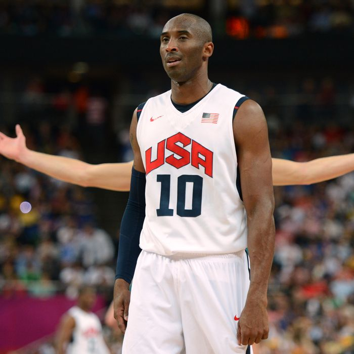 US guard Kobe Bryant is pictured during his team's London 2012 Olympic Games men's quarterfinal basketball match against Australia in London on August 8, 2012.