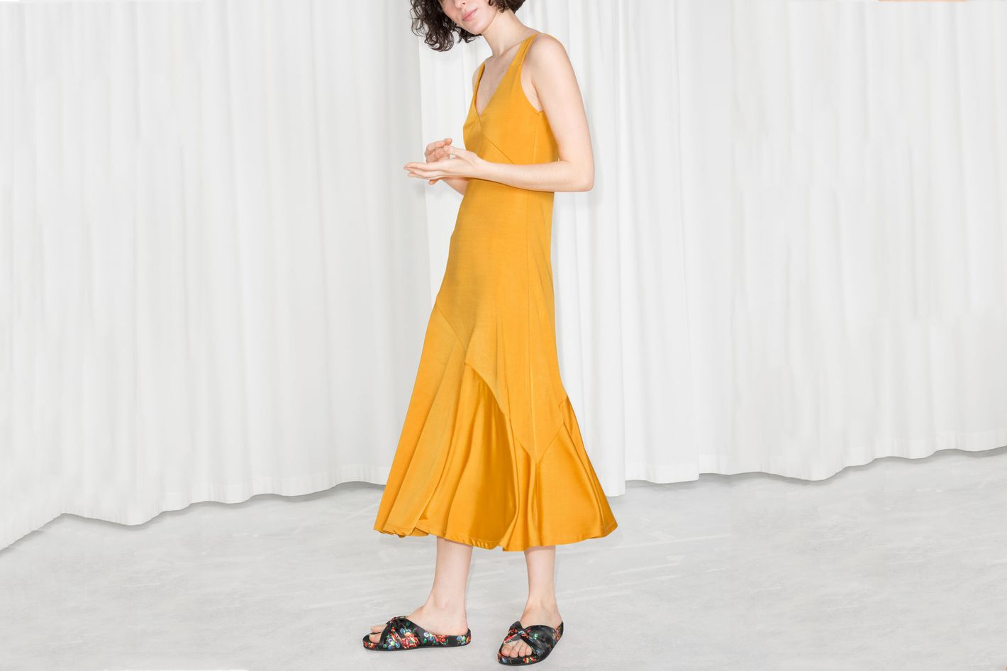 & Other Stories Asymmetrical Flowy Midi Dress