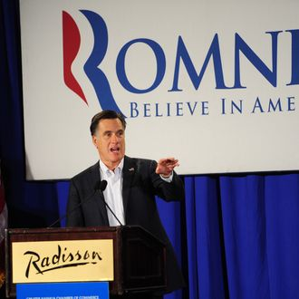 Republican presidential hopeful Mitt Romney attends a Nashua Chamber of Commerce breakfast in Nashua, New Hampshire, January 9, 2012.