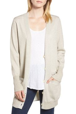 J.Crew Collection Long Cardigan in Double Knit Lurex