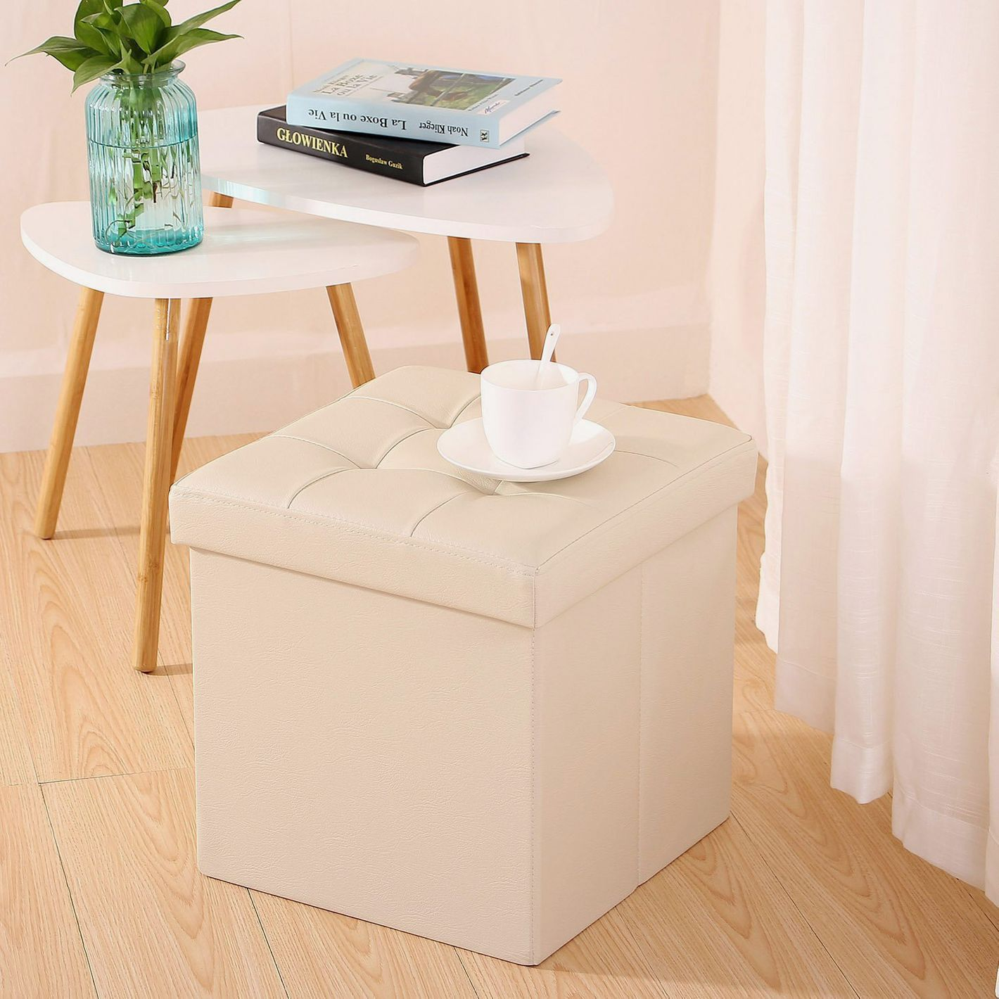 Ollieroo Faux Leather Folding Storage Ottoman