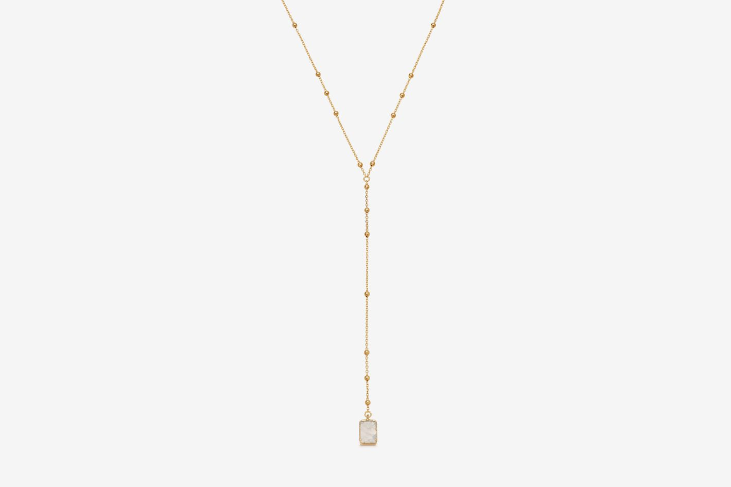 Rainbow Moonstone Gold Lariat Necklace