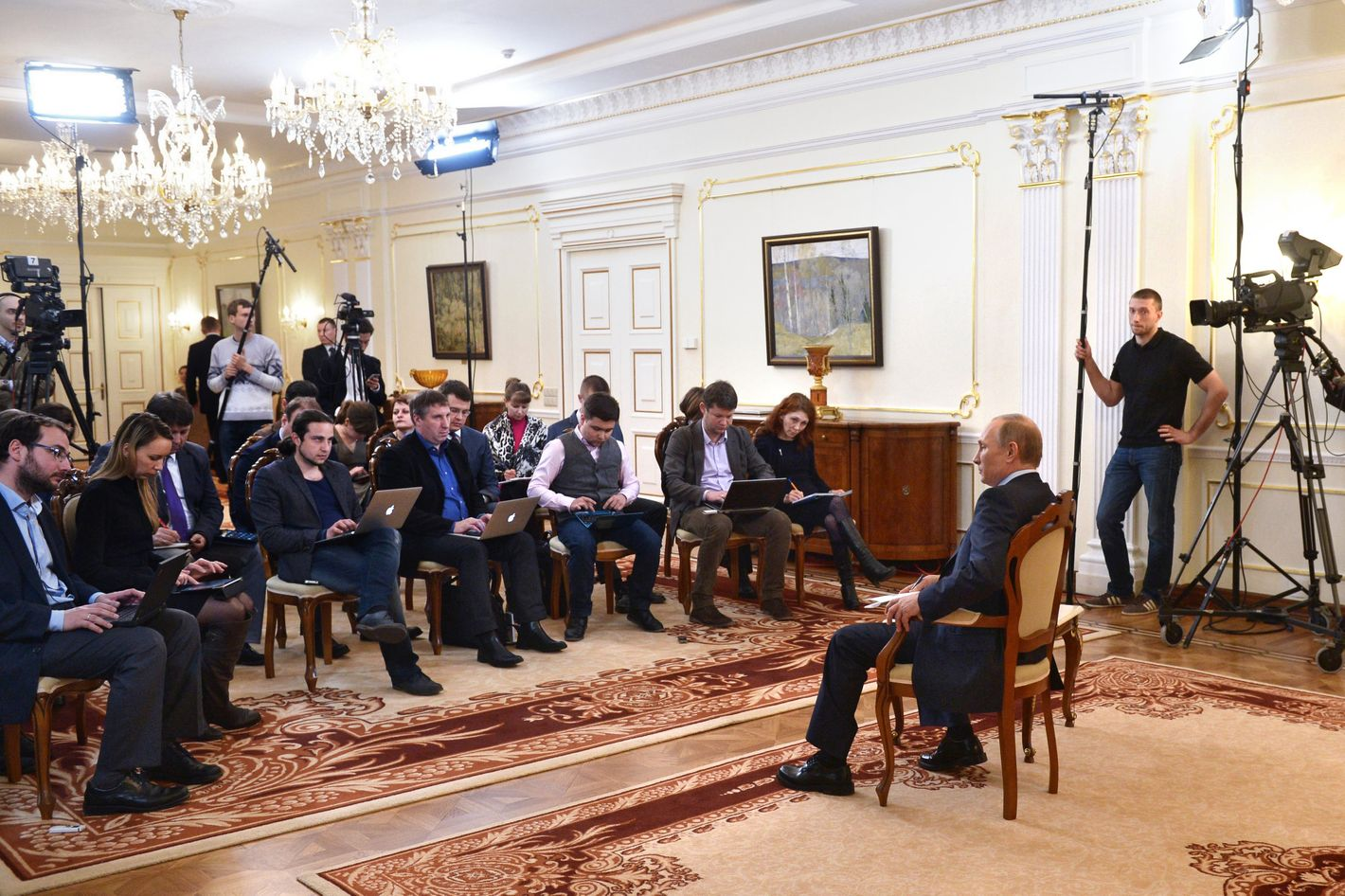 Russian President Vladimir Putin gives a news conference at his country residence of Novo-Ogaryova, outside Moscow, on March 4, 2014. Russian President Vladimir Putin on Tuesday said that deposed Ukrainian president Viktor Yanukovych had no political future but asserted he was legally still head of state.