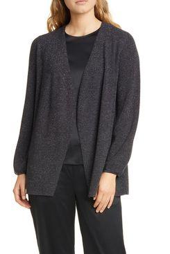 Eileen Fisher Metallic Wool Blend Open Cardigan