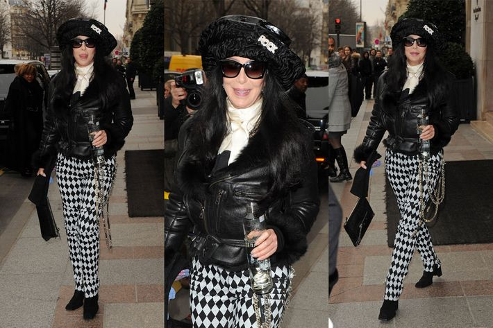 Cher's Paris Fashion Week outfit.