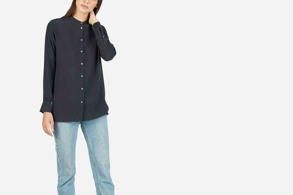 The Relaxed Silk Collarless Shirt