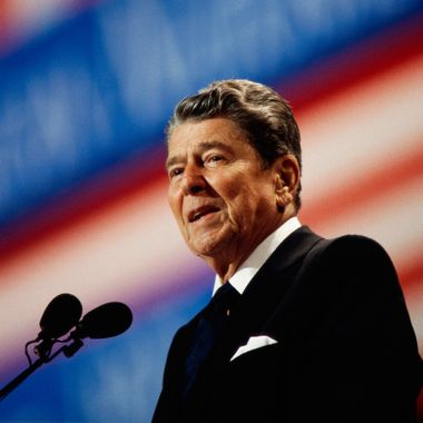 17 Aug 1992, Houston, Texas, USA --- Ronald Reagan Speaking at the Republican National Convention --- Image by ? Ralf-Finn Hestoft/CORBIS